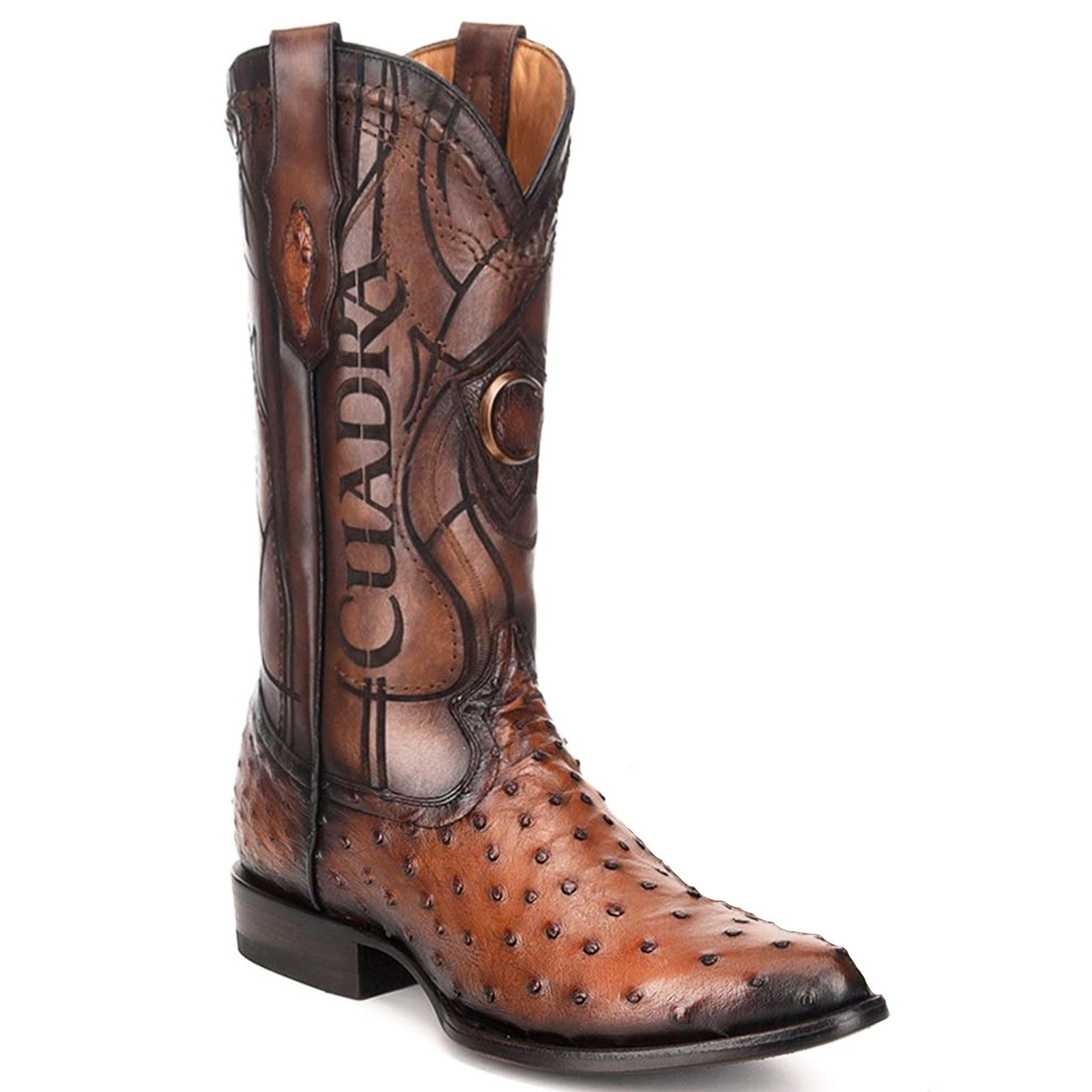 Cuadra Honey Ostrich Cowboy Boots R-Toe