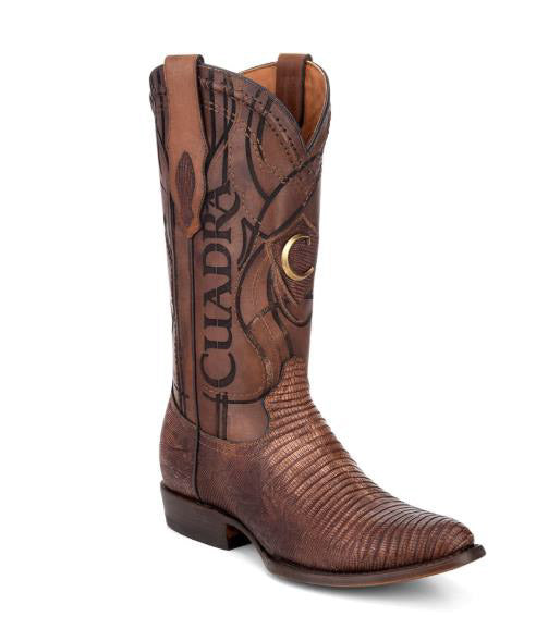 Cuadra Men's Lizard R-Toe Cowboy Boot - Antique Honey
