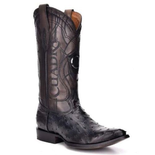 Cuadra Men's Black Ostrich R-Toe Cowboy Boot