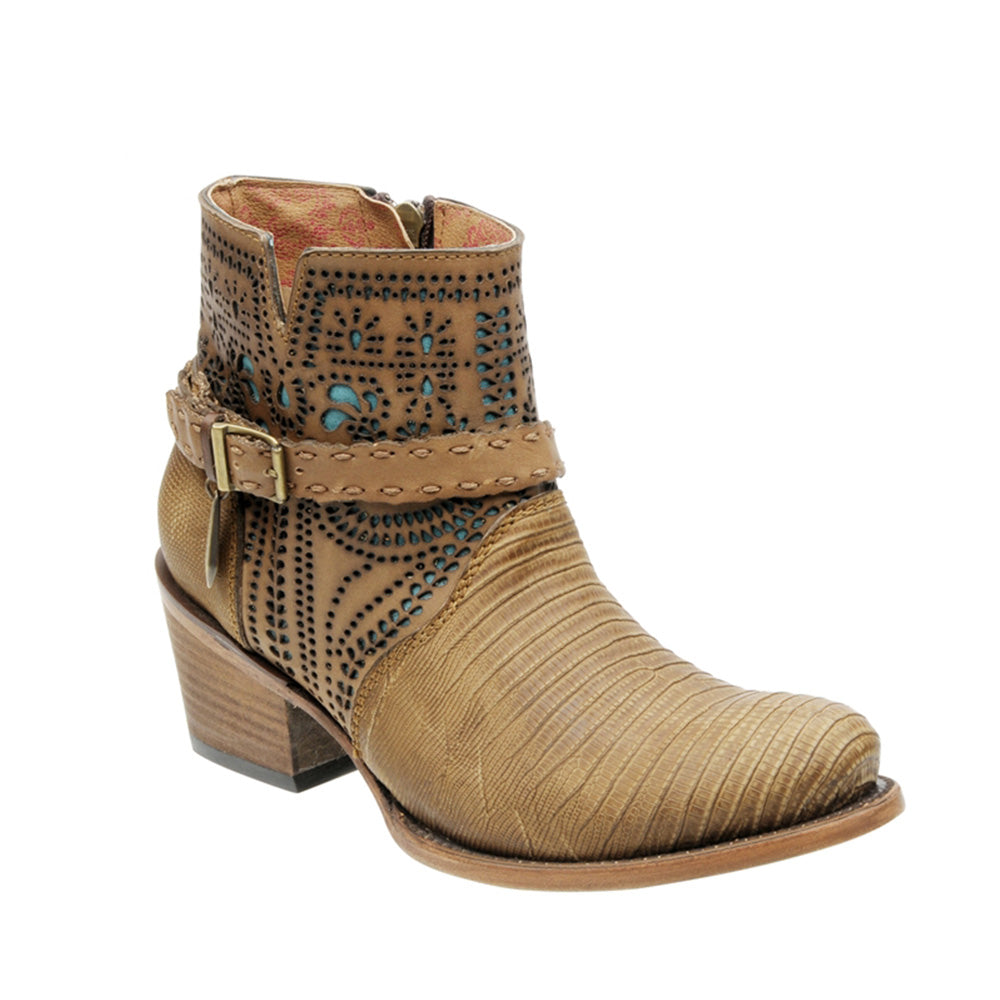 Cuadra Ladies Lizard Ankle Boot Fango Oryx