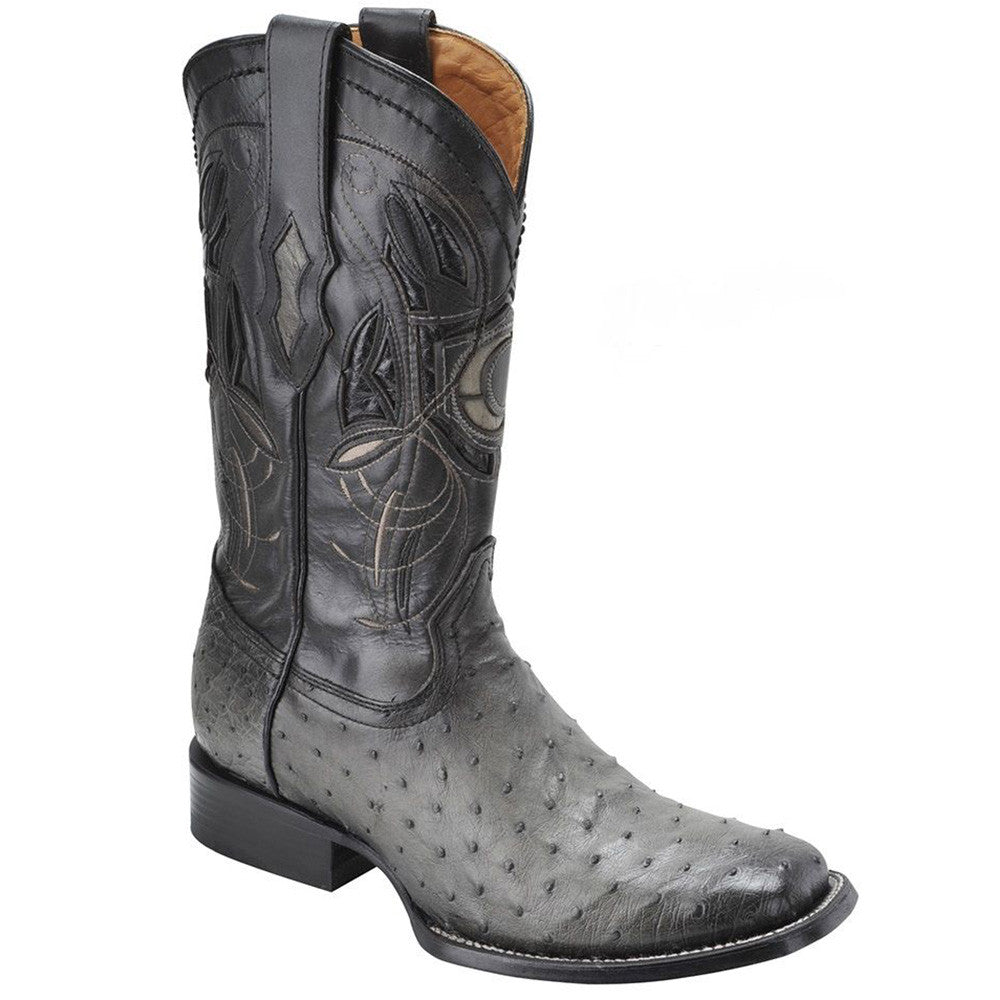 Cuadra Men's Flame Grey Ostrich Cowboy Boots - Square Toe