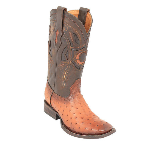 Cuadra Men's Ostrich Wide Square Toe Western Boot Flama Honey
