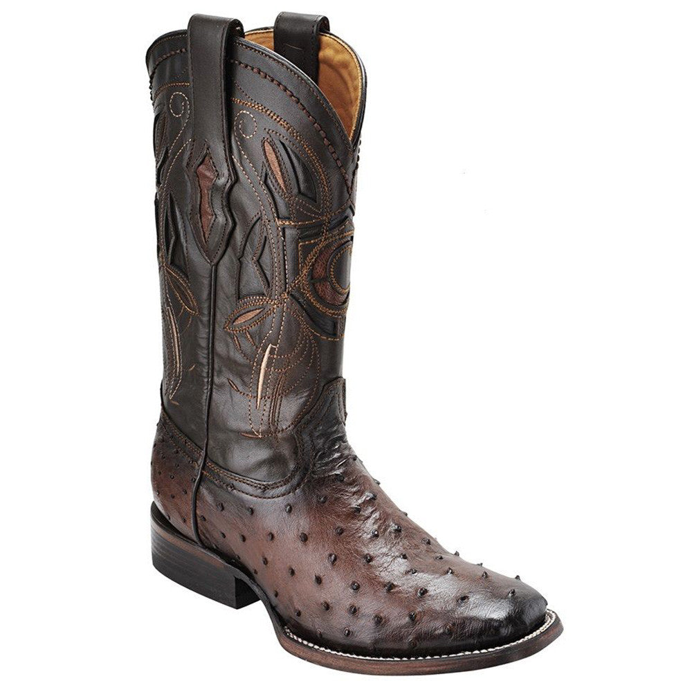 Cuadra Men's Ostrich Wide Square Toe Western Boot Flame Cafe