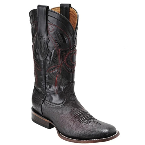 Cuadra Mens Ostrich Belly Wide Square Toe Cowboy Boots Black Chery