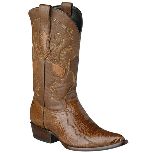 Cuadra Mens Ostrich Leg Honey Cowboy Boots R-Toe