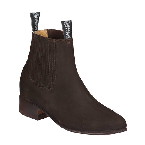 El Canelo Men's Brown Suede Botin Charro