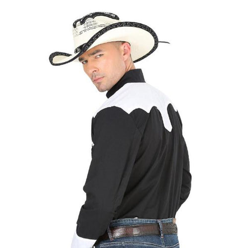 El General Men's Western Shirt Black/White