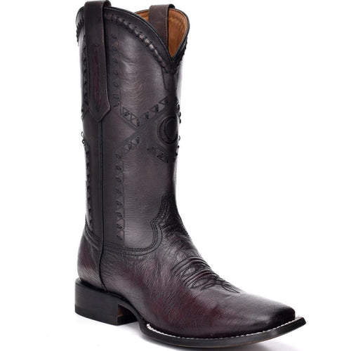 Cuadra Ostrich Belly Wide Square Toe Black Cherry Cowboy Boots