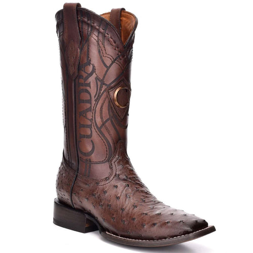 Cuadra Men's Ostrich Wide Square Toe Cowboy Boots - Everest Chocolate