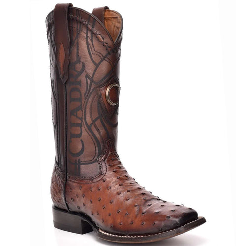 Cuadra Men's Ostrich Wide Square Toe Cowboy Boots Honey
