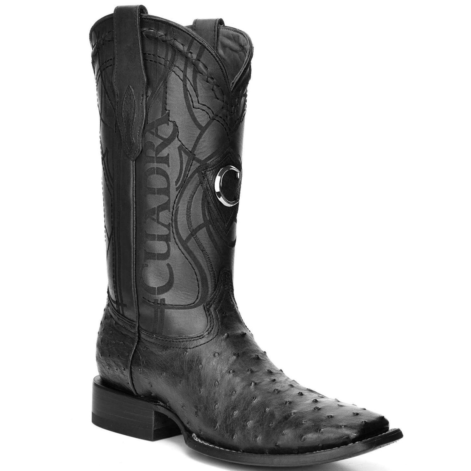 Cuadra Men's Black Ostrich Wide Square Toe Boots