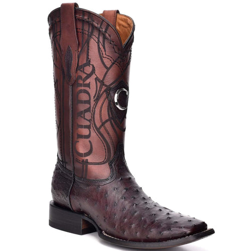 Cuadra Men's Black Cherry Ostrich Wide Square Toe Boots