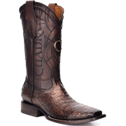 Cuadra Men's Square Toe Caiman Belly Paris Brown Cowboy Boots