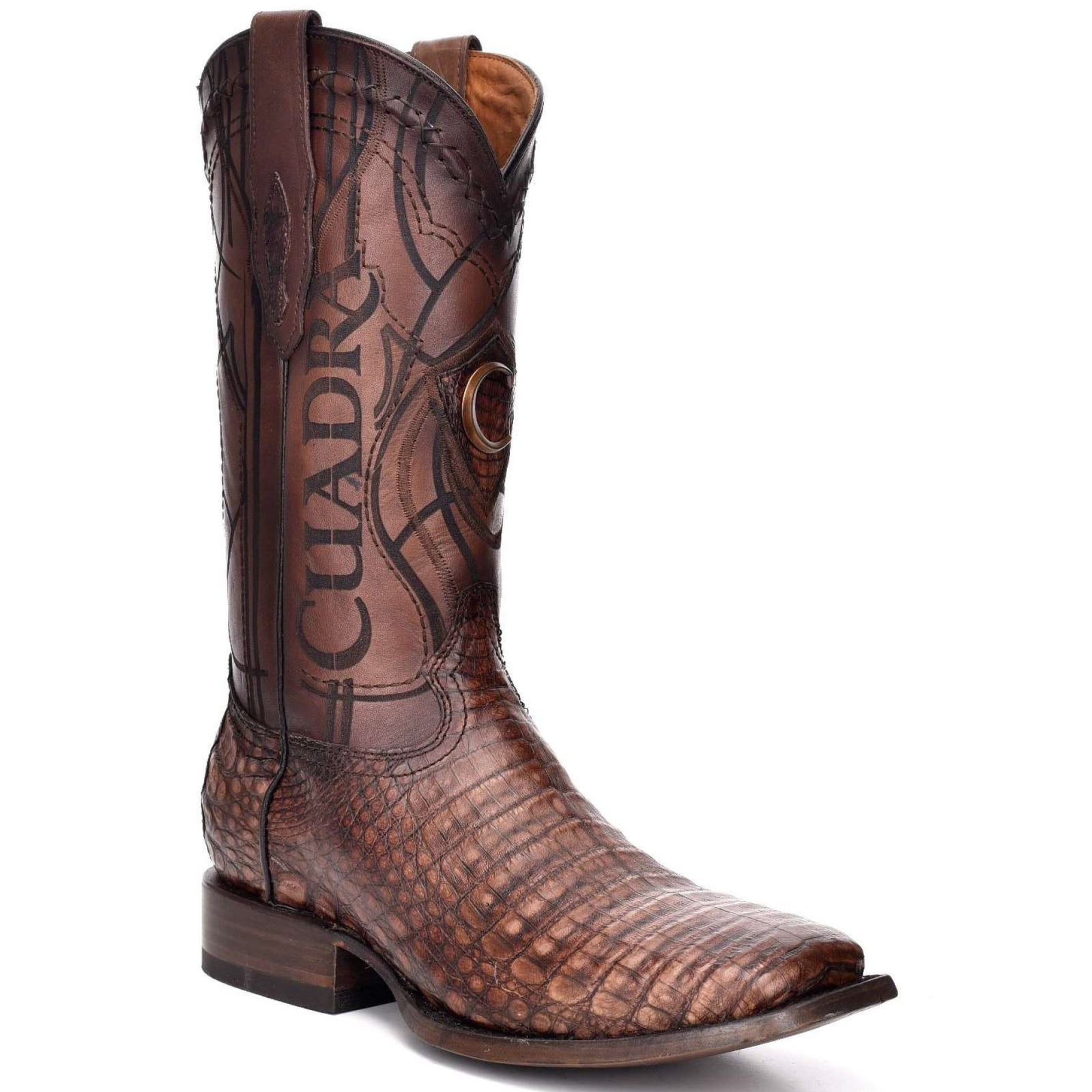 Cuadra Men's Square Toe Caiman Belly Lumber Whisky Cowboy Boots