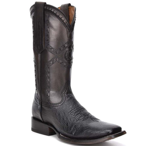 Cuadra Ostrich Belly Wide Square Toe Black Cowboy Boots