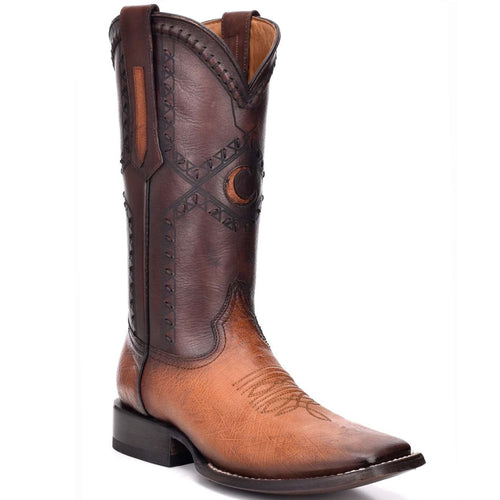 Cuadra Ostrich Belly Wide Square Toe Honey Cowboy Boots