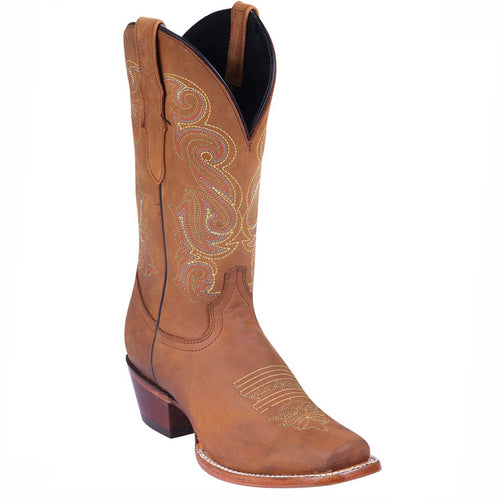 El General West Tan Square Toe Cowgirl Boots