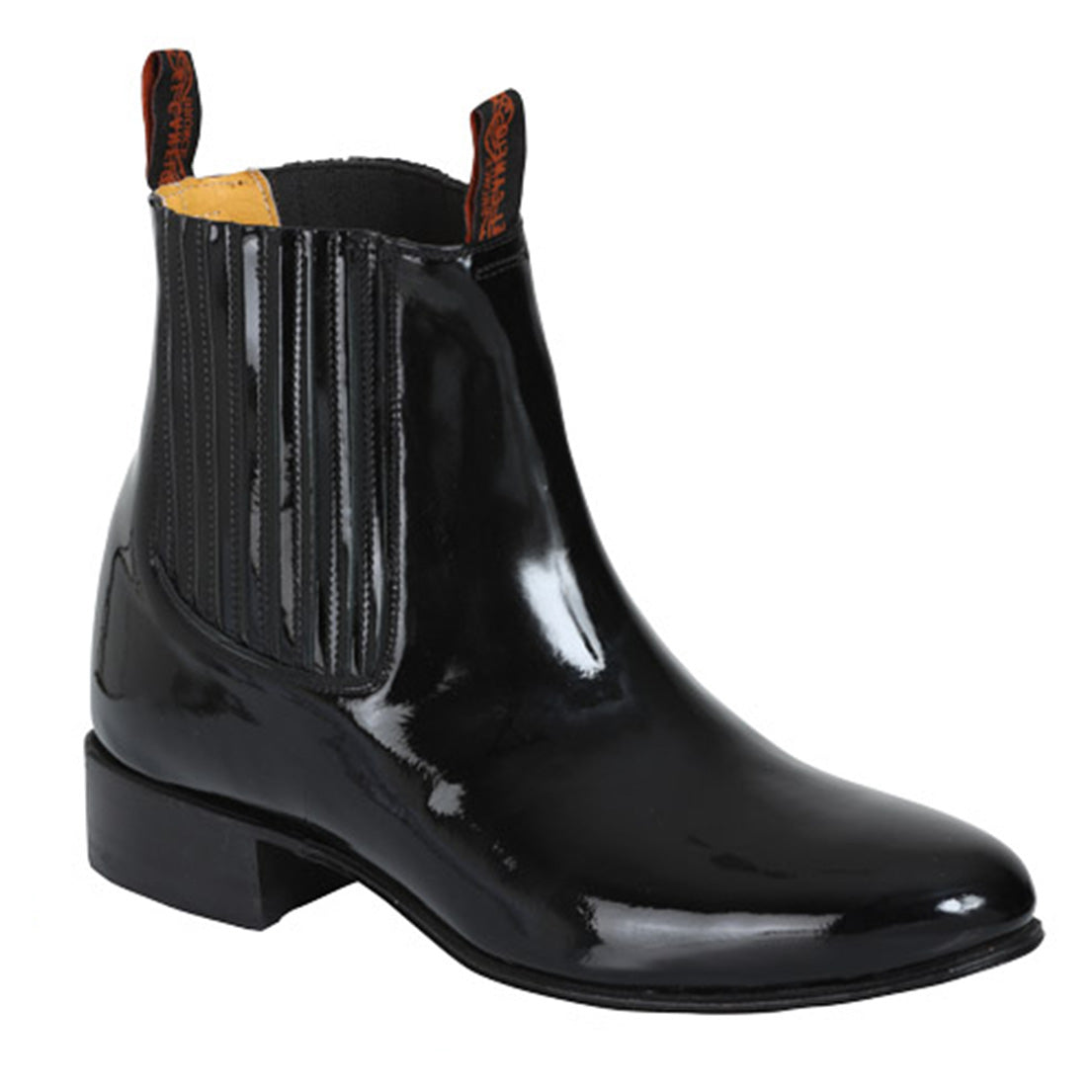 El Canelo Black Patent Leather Ankle Charro Boots