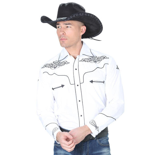 El General Men's White Charro Shirt