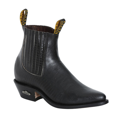 Men's Lizard Print Pointed Toe Western Ankle Boots