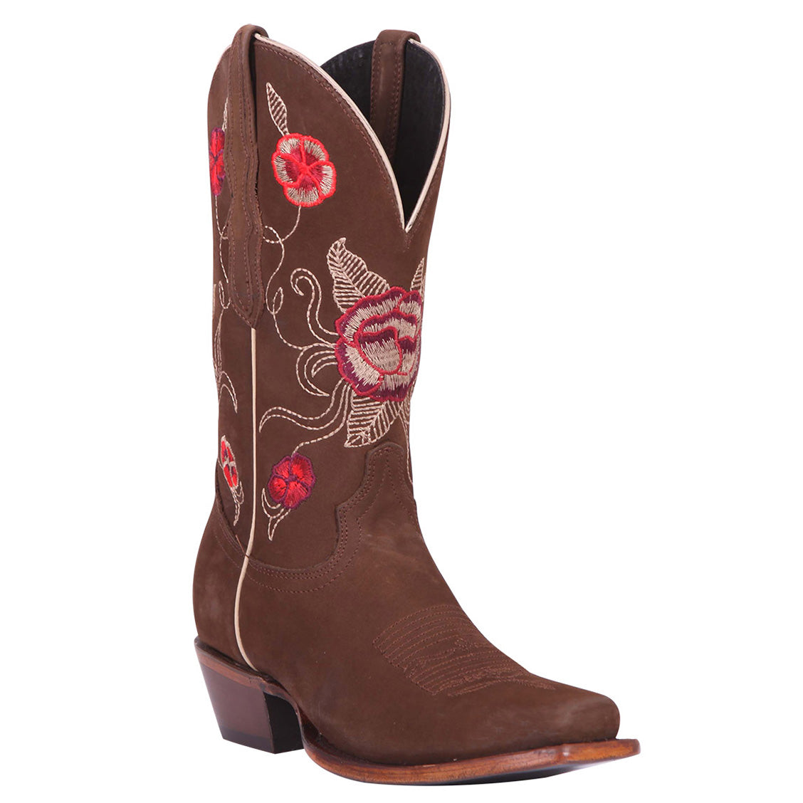 El General Rose Square Toe Cowgirl Boots