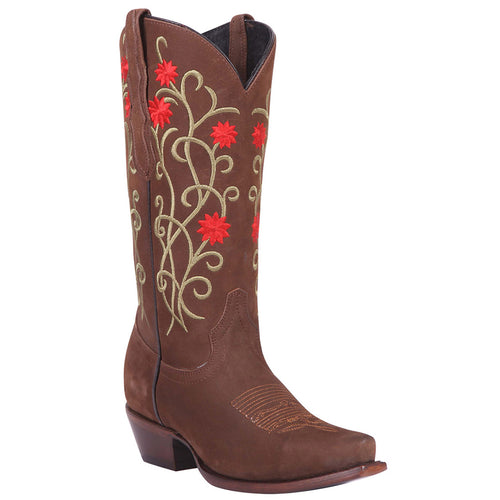 El General Flower Suede Snip Toe Cowgirl Boots