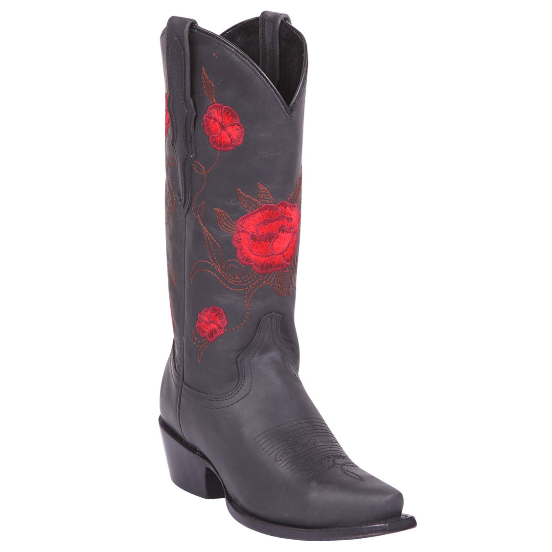 El General Red Rose Black Snip Toe Cowgirl Boots
