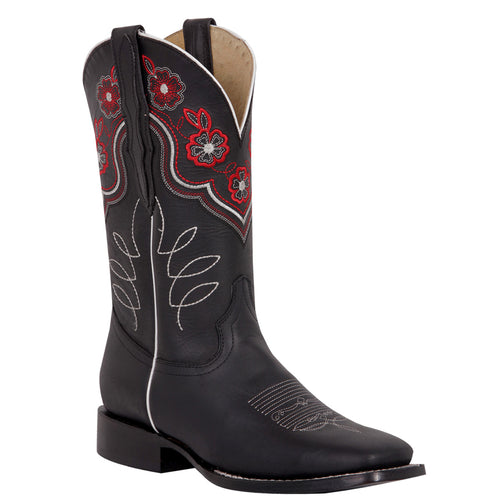 El General Flower Square Toe Cowgirl Boots