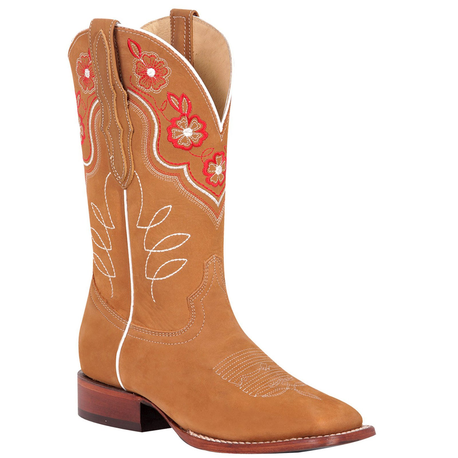 El General Flower Nubuck Square Toe Cowgirl Boots