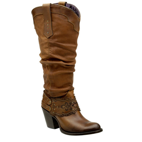 Cuadra Women's Lizard Rustic Finish Boot Fango Brown