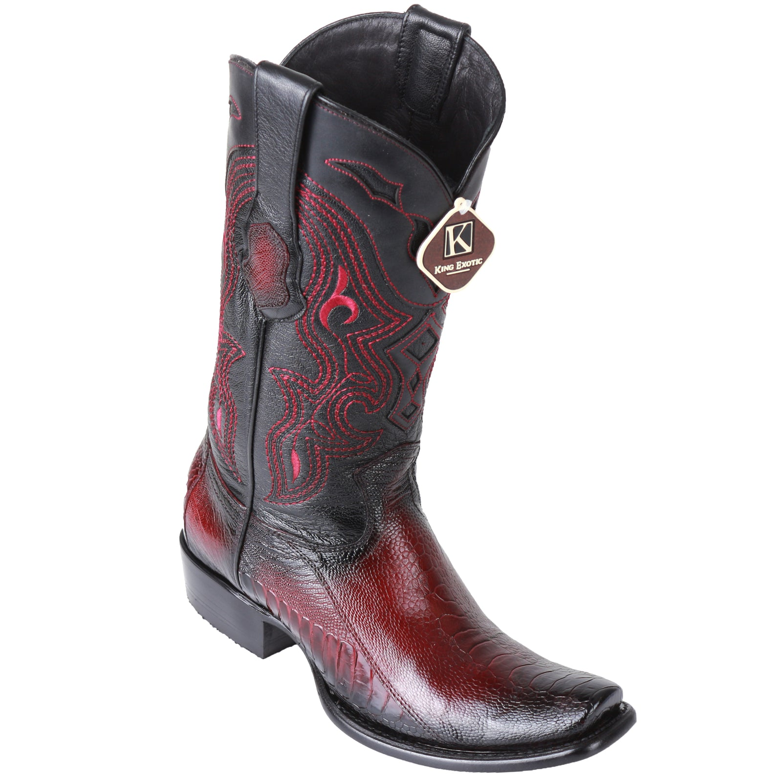 King Exotic Men's Ostrich Leg Faded Burgundy Cowboy Boots - H79 Dubai Toe