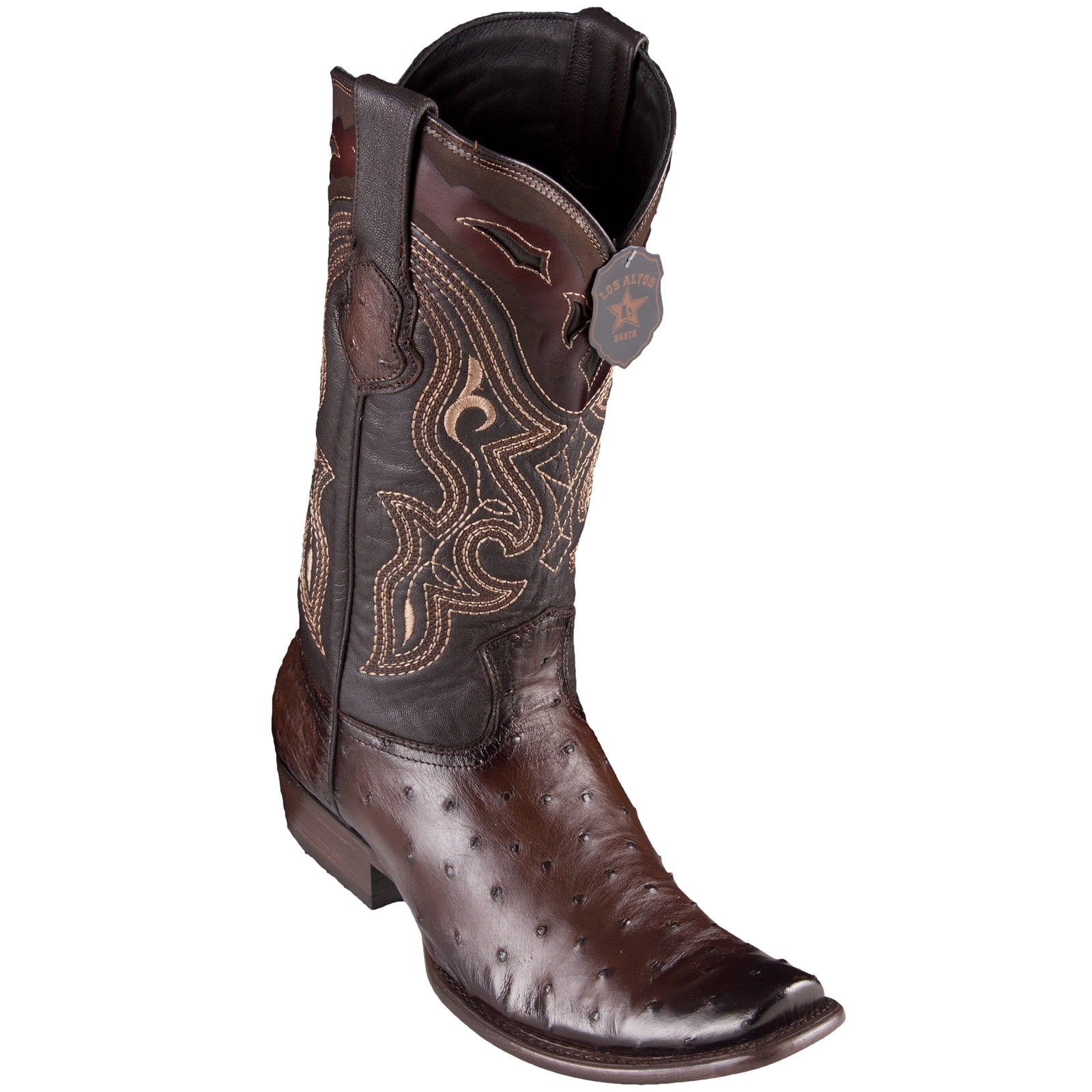 Los Altos Men's Ostrich Faded Brown Cowboy Boots - H79 Dubai Toe