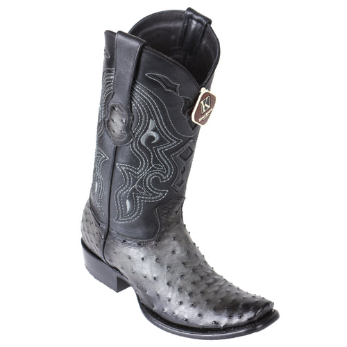 King Exotic Men's Ostrich Faded Grey Cowboy Boots - H79 Dubai Toe