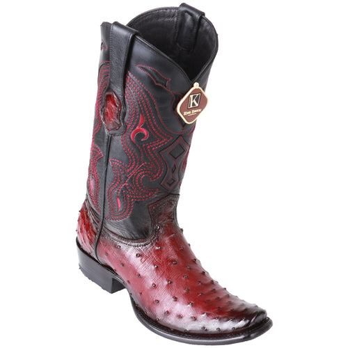 King Exotic Men's Ostrich Faded Burgundy Cowboy Boots - H79 Dubai Toe