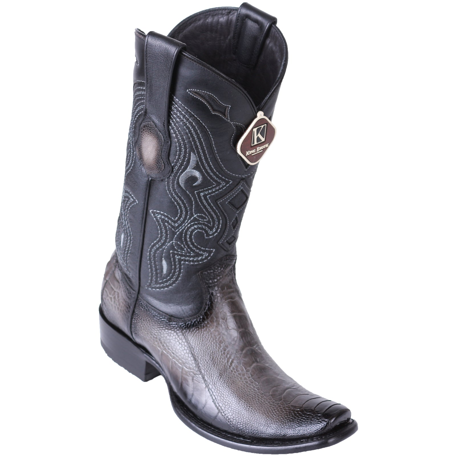 King Exotic Men's Ostrich Leg Faded Grey Cowboy Boots - H79 Dubai Toe
