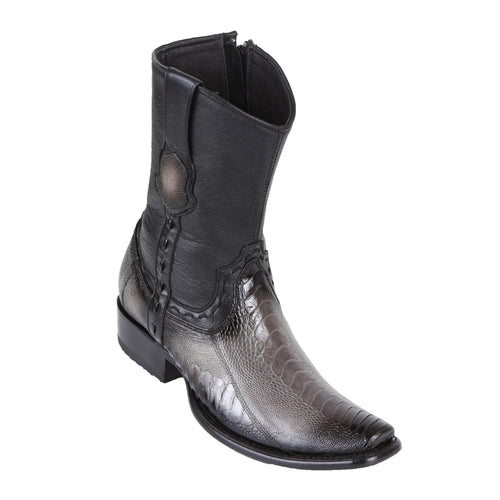 King Exotic Men's Ostrich Leg Boots Faded Grey - H79B Dubai Toe