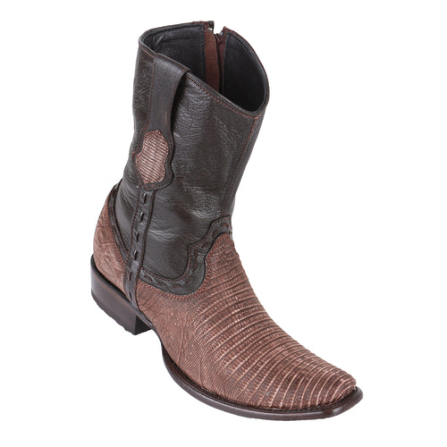 King Exotic Men's Lizard Teju Boots Sanded Brown - H79B Dubai Toe