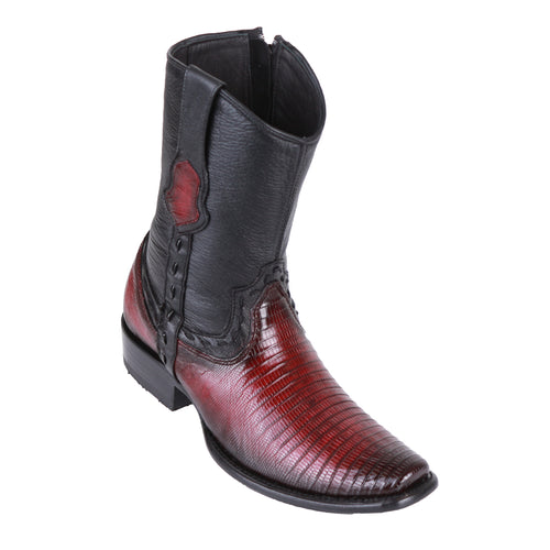 King Exotic Men's Lizard Teju Boots Faded Burgundy - H79B Dubai Toe