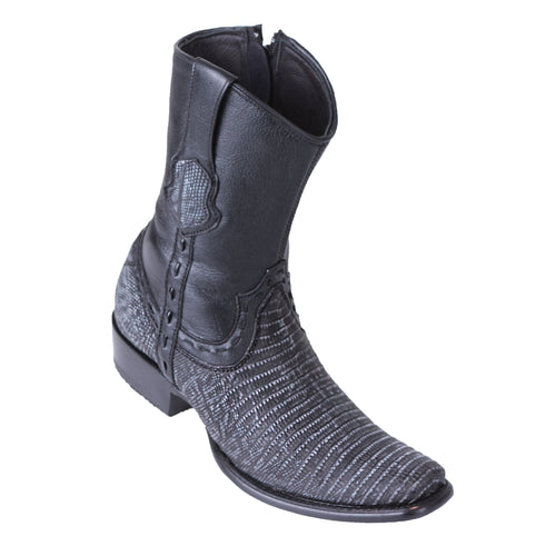 King Exotic Men's Lizard Teju Boots Sanded Black - H79B Dubai Toe