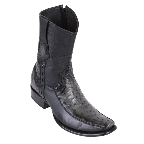 King Exotic Men's Ostrich & Deer Boots Faded Grey - H79BF Dubai Toe