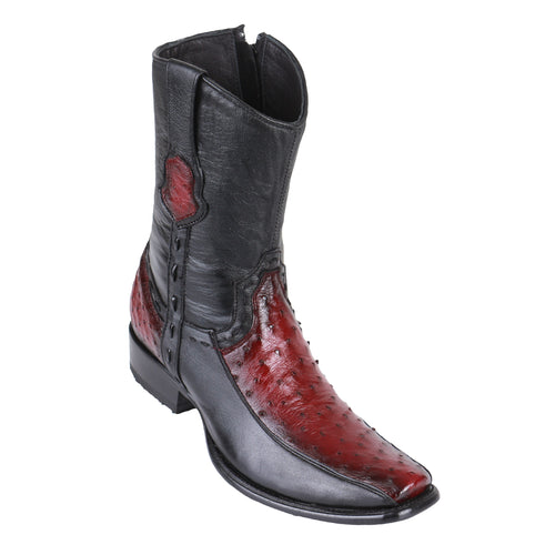 King Exotic Men's Ostrich & Deer Boots Faded Burgundy - H79BF Dubai Toe