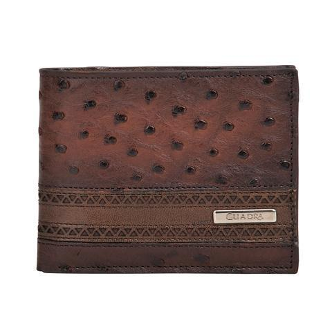 Cuadra Men's Flame Brown Ostrich Wallet