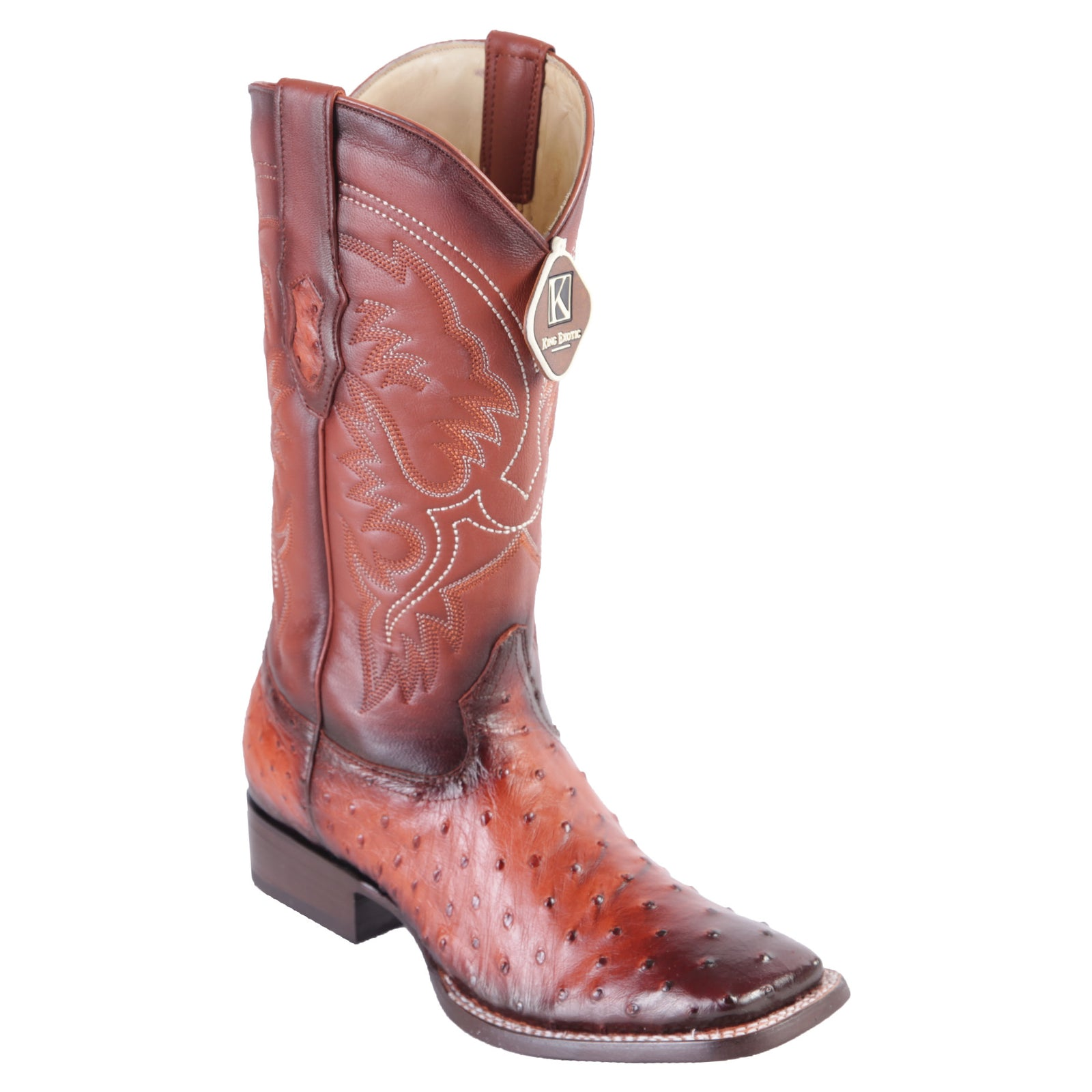 King Exotic Men's Faded Cognac Ostrich Cowboy Boot