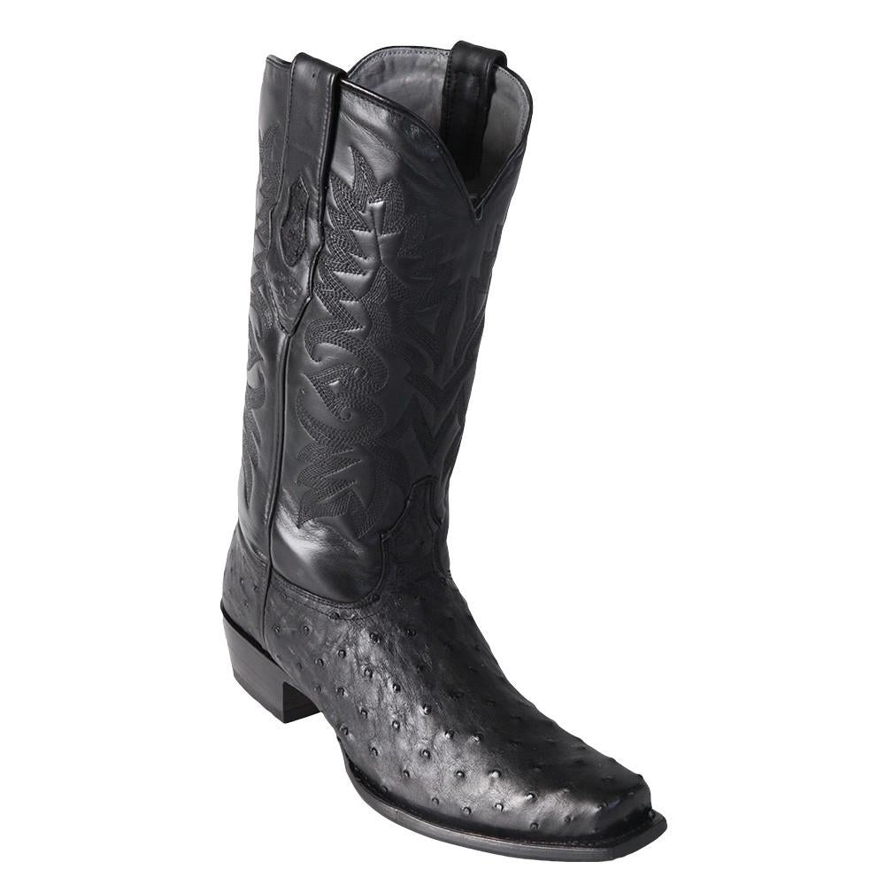 Los Altos Men's Black Ostrich Square 7-Toe Cowboy Boots