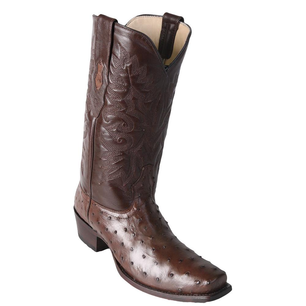 Los Altos Men's Brown Ostrich Square 7-Toe Cowboy Boots