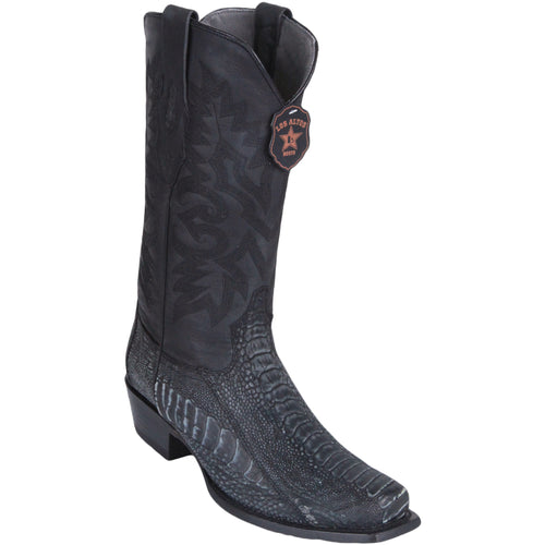 Los Altos Men's Sanded Black Ostrich Leg Square 7-Toe Cowboy Boots