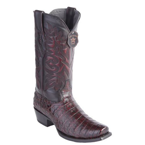Los Altos Men's Black Cherry Caiman Belly Cowboy Boots 7-Toe