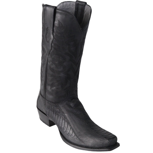 Men's Black Ostrich Leg Square 7-Toe Cowboy Boots - Greasy Finish