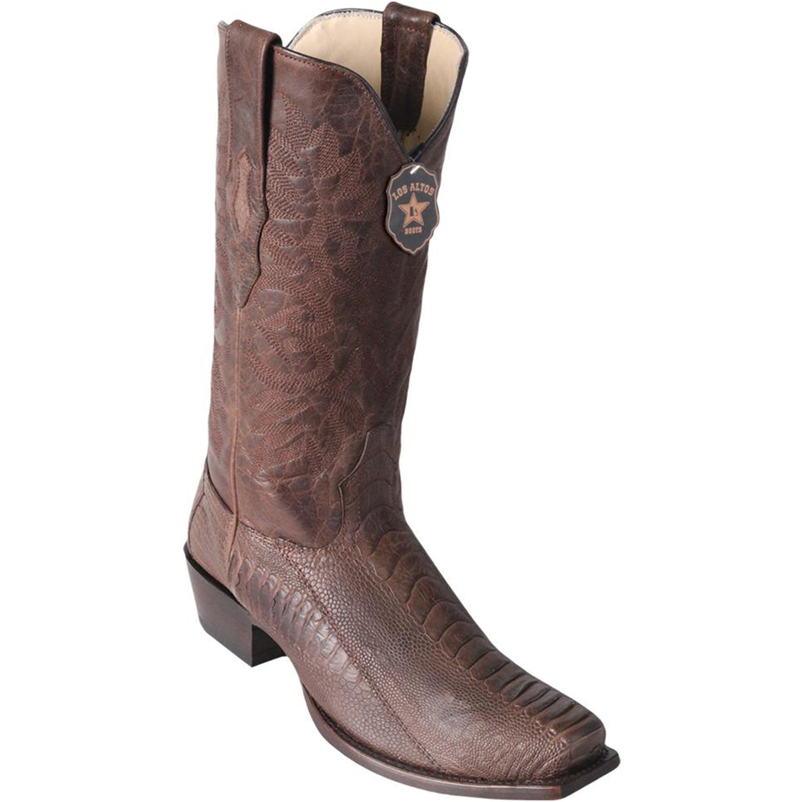 Los Altos Men's Brown Ostrich Leg Square 7-Toe Cowboy Boots - Greasy Finish