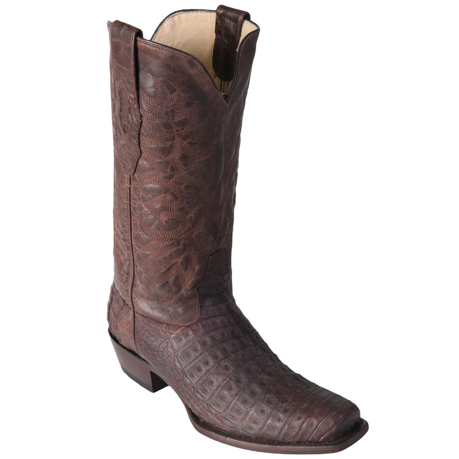 Los Altos Men's Greasy Finish Caiman Belly Cowboy Boots